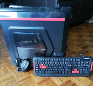 Full gaming PC set (tower, mouse, keyboard, and monitor)