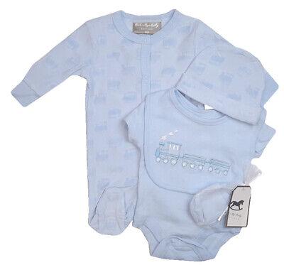 Baby Boy Clothes 5 Piece Gift set layette blue train Newborn 0-3m 3-6months