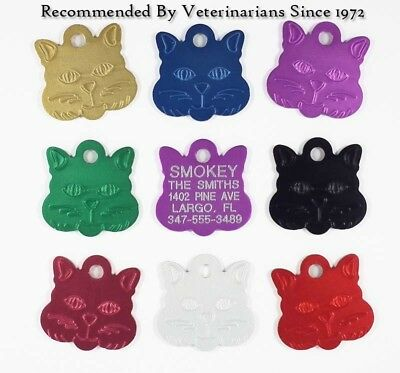 Cat Pet ID Name Tags Custom Engraved Identification Tag w/ up to 5 Lines of Info