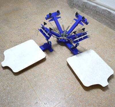 4 Color Screen Printer Screen Printing Press Machine Free Set Pallet 90 Degree