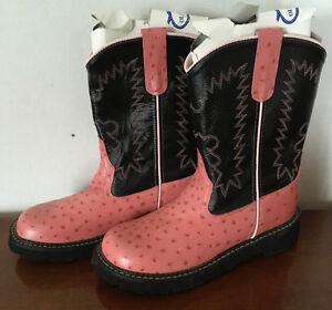 Youth, Leather, Pink & Black, Cowboy Boots - Youth Size 5