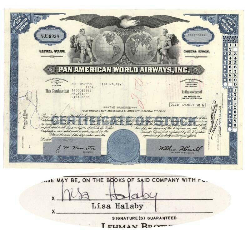 Issued To and Signed On  Stock Receipt By Lisa Halaby, Queen Noor Of Jordan