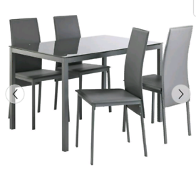 Brand new grey glass dining table and chairs