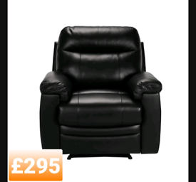 Leather rise and recliner armchair. Black