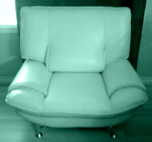 Genuine Italian Mint Green Leather Sofa Chair