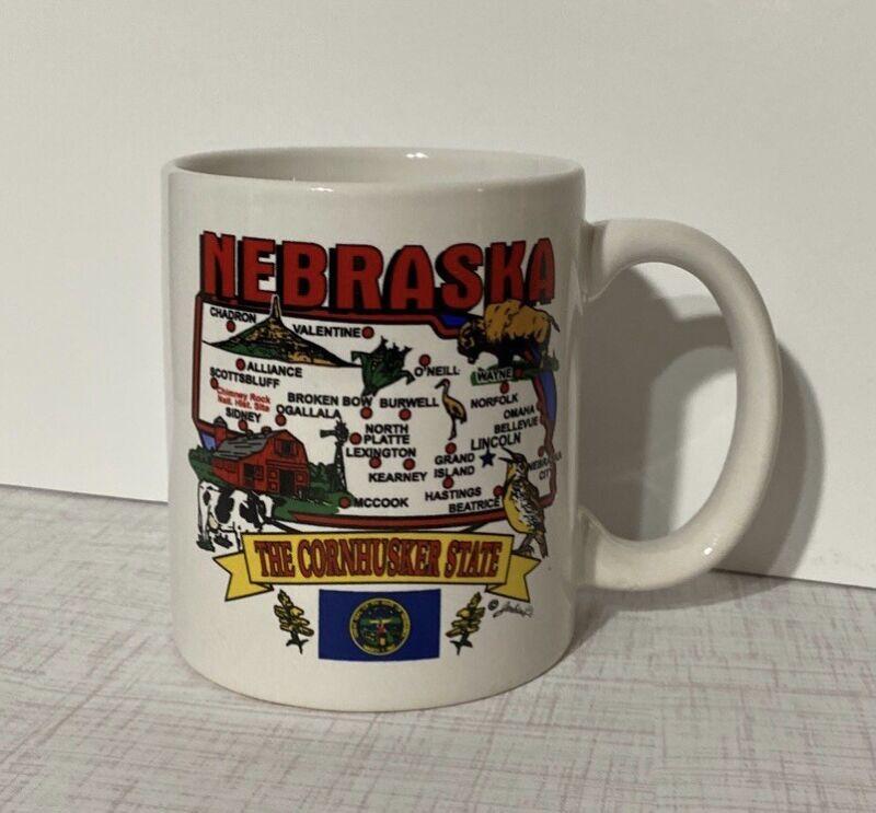 "NOS ~State Of Nebraska ""The Cornhusker State"" 12 Oz Coffee Mug ~Artist Jenkins"