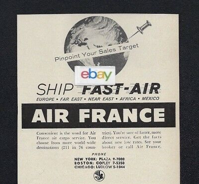 AIR FRANCE 1955 SHIP FAST AIR CARGO PINPOINT YOUR SALES TARGET AD