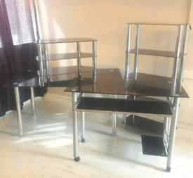 Black Glass TV Stand, Table, Computer Desk & 5 Tier Shelving Unit