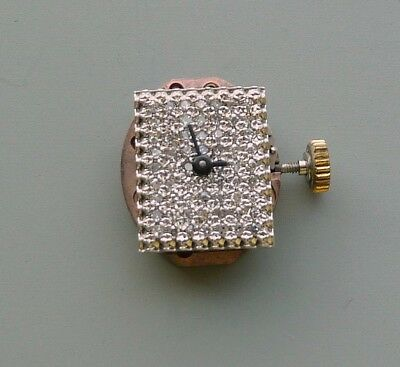 14K WHITE GOLD PAVE DIAMOND WATCH DIAL WITH 17 JEWELS MOVEMENT