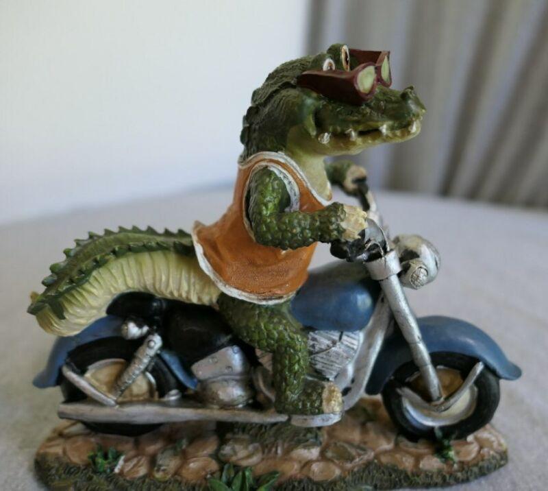 "Hand Painted Resin Alligator Riding Harley Davidson Motorcycle Figurine 6"" H"