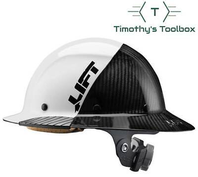Lift Safety Hdf-50c19wc Dax 5050 Carbon Fiber Full Brim Hard Hat White-black