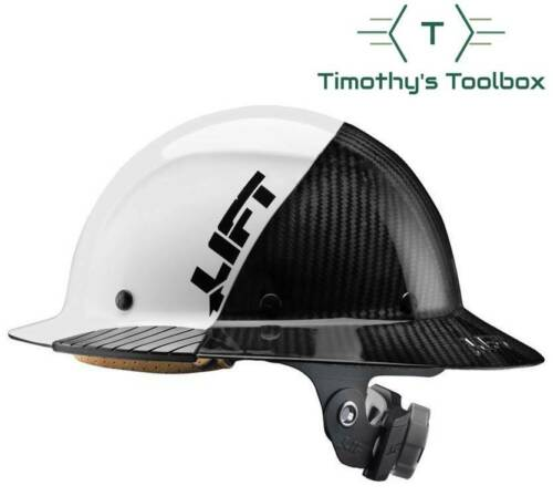 Lift Safety HDF-50C19WC Dax 50/50 Carbon Fiber Full Brim Hard Hat White-Black