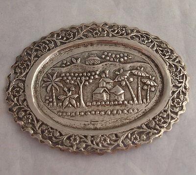 Elegant Indian Solid Silver Dish.