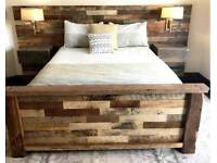 Custom made bed made with reclaimed timber Inc. Installation