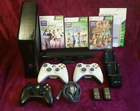 Xbox 360 S 250gb + Kinect Sensor, games, rechargeable battery packs, charging dock & headset