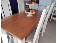 Dining table with 4 ladder back chairs