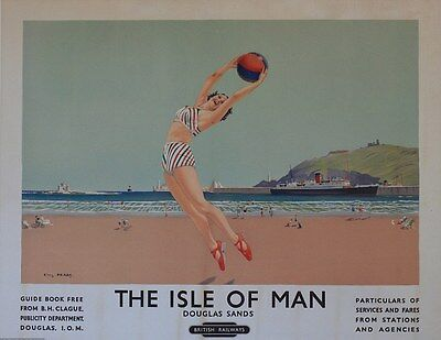 Vintage Rail advertising travel railway poster  A4 RE PRINT Isle of Man(2)