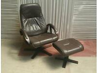 Brown leather recliner and footstool