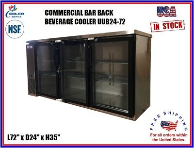 Commercial Back Bar Cooler Beverage Refrigerator Stainless Steel 3 Door Nsf 72