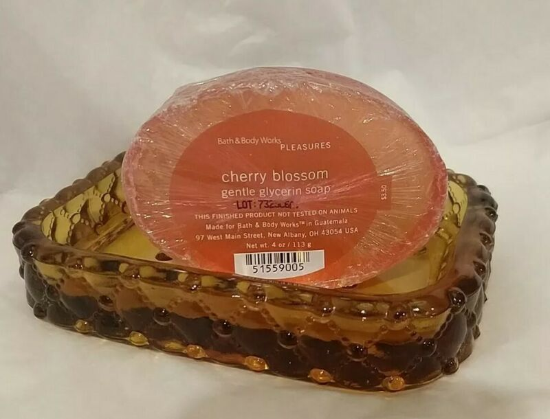 Vintage Amber Glass Soap Dish with Bonus Soap