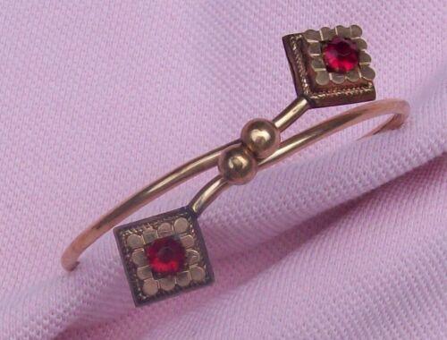 Old Vintage Antique Victorian R K Gold Gilt Garnet Glass Tension Bangle Bracelet
