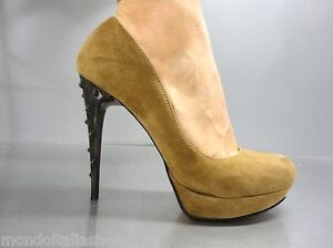 MORI-ITALY-PLATFORM-HIGH-HEEL-PUMPS-SCHUHE-SHOES-SUEDE-LEATHER-BROWN-MARRONE-42