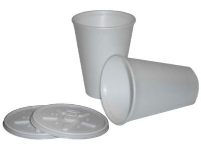 12 Oz White Foam Cups (White Insulated Polystyrene Foam Cups 7 / 10 / 12 / 16 / 20 oz Cups & Lid Option)