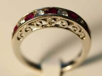 14K White Gold Ring with Diamonds and Rubies