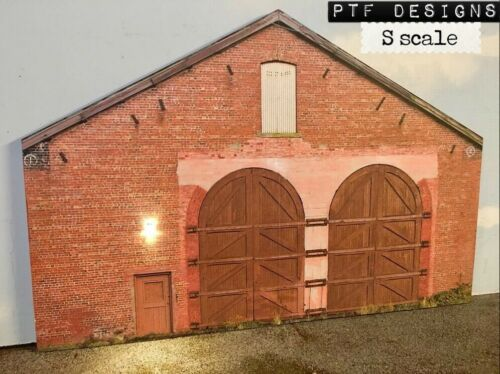 S Scale Scratch Built Engine Shed House Building Flat, w/ LED American Flyer