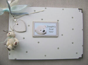 PERSONALISED NEW BABY. FIRST YEAR. A4 SIZE PHOTO ALBUM/SCRAPBOOK/MEMORY BOOK.