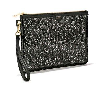 Halloween Bridal Makeup (Victoria's Secret Beauty Bag Cosmetic Bag Travel Pouch Wristlet Purse Black)