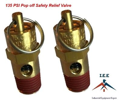 Air Compressor Safety Pop Off Valve 135 Psi Asme Coded X 2 Pieces