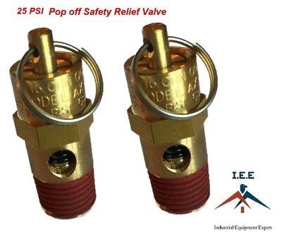 14 Npt 25 Psi Air Compressor Safety Relief Pressure Valve Tank Pop Off 2pc