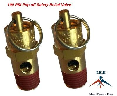 Air Compressor Safety Pop Off Valve 100 Psi Asme Coded X 2 Pieces