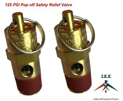 Air Compressor Safety Pop Off Valve 125 Psi Asme Coded X 2 Pieces