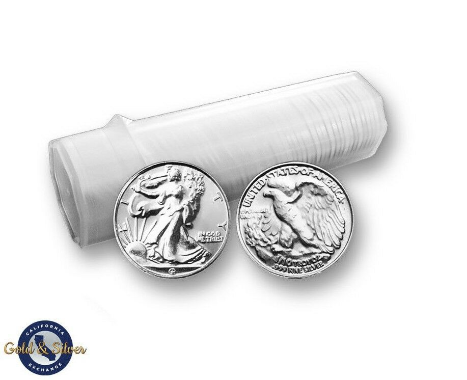 Lot of 50 -- New 1/10 oz Liberty Design .999 Fine Silver Rounds Tube Roll
