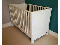 White solid wood east coast cot bed & mattress