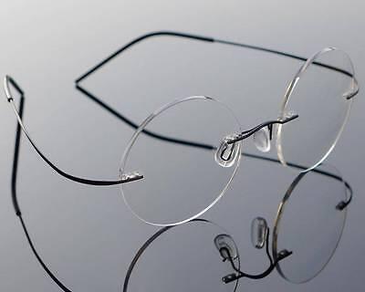 Mens Vintage Rimless Steve Jobs Round Titanium Eyeglasses Frames Glasses Rx-able](Steve Jobs Glasses)