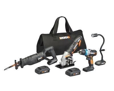 WORX WX947L 20V 4 PC Kit: Ai Drill, Worxsaw, Reciprocating Saw and Flex Light
