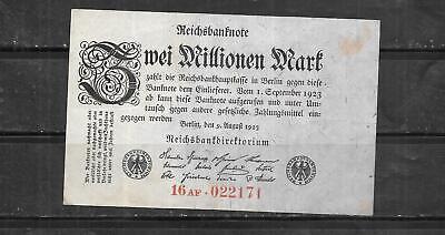 GERMANY #103 1923 VG USED VINTAGE OLD 2 MILLION MARK BANKNOTE PAPER MONEY