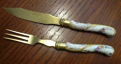 Antique German Porcelain Handle Brass Dessert Cheese Fork Knife Hand Painted - Handled Hand Fork