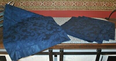 "Sferra Dark Navy Patterned Table Runner 74"" x 15.5"", (4) Napkins EUC"