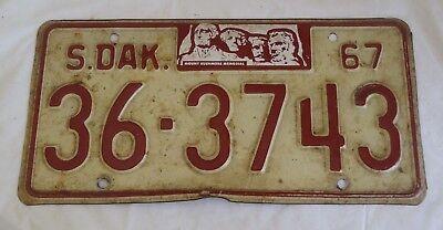 1967 South Dakota License plate 36 3743