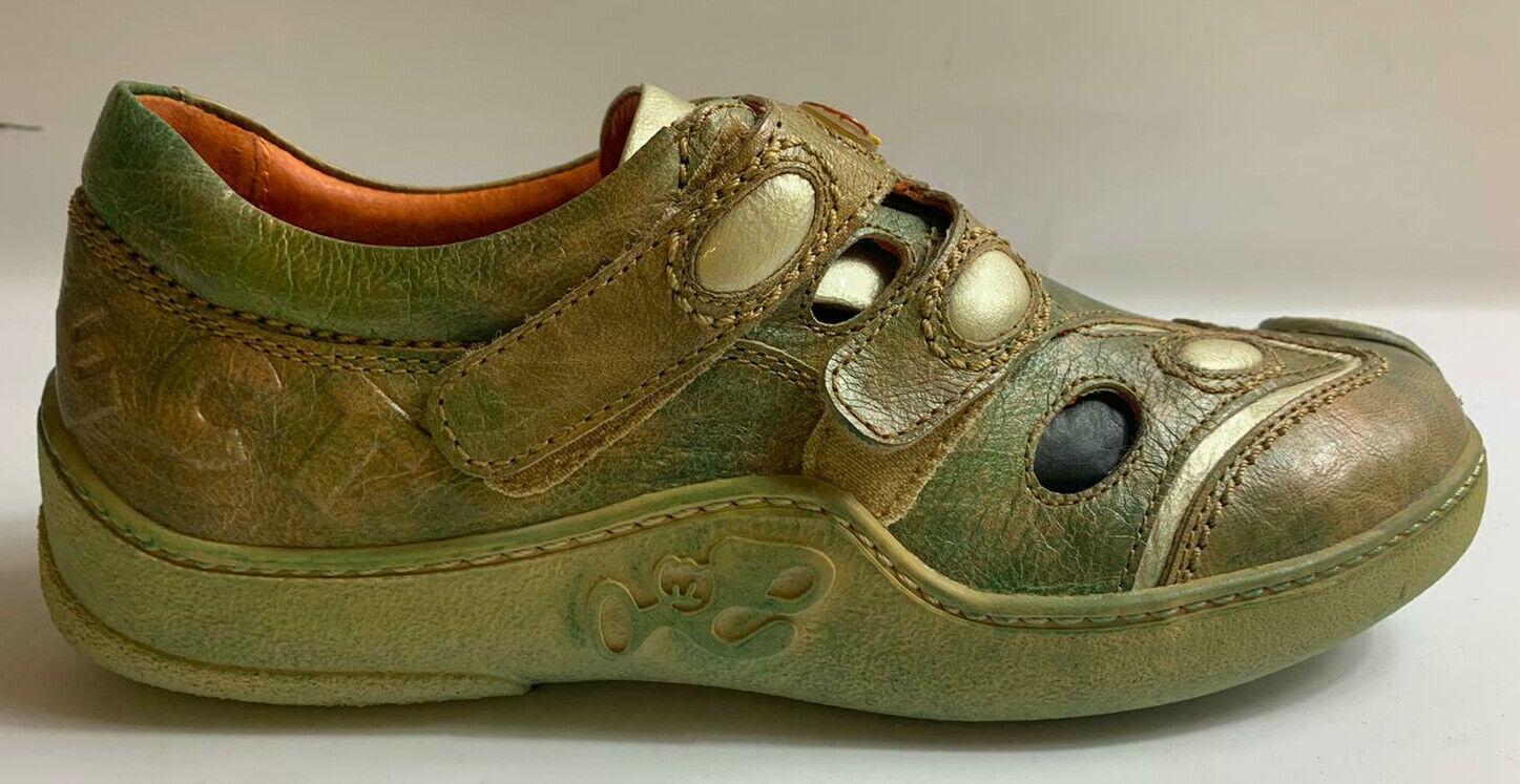 Eject Damen Schuhe Halbschuhe beige grün Leder  Größe 37 18.0903/R1A