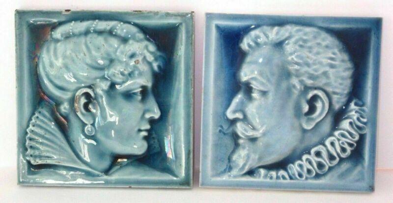 Pair Of U.S. Encaustic Tile Co Relief Portrait Tiles 17th Cent Woman & Man Blue