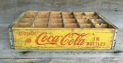 *1969 Coca Cola Yellow Wood Divided 24 Bottle Wooden Case Crate