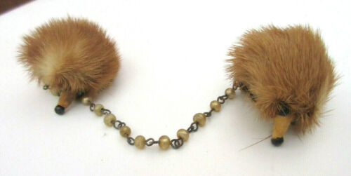 Vintage MINK and PEARLS Sweater Clip, Guard or Clasp PERFECT CONDITION 1950