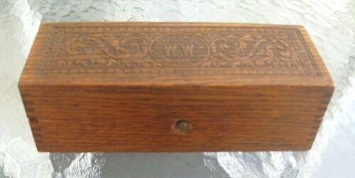 Antique WHEELER WILSON SEWING MACHINE PRESS CARVED DOVETAILED LOCKING PARTS BOX