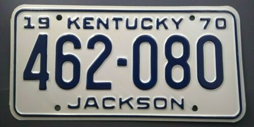 1970 Kentucky License Plate Tag #462-080 --Jackson Cty--   N-O-S