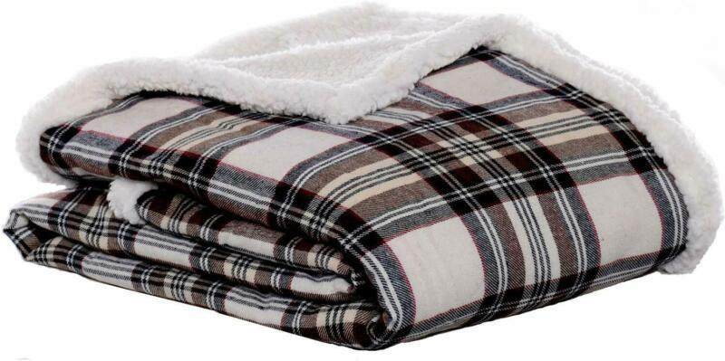 "Eddie Bauer Edgewood Plaid Flannel Sherpa Throw Blanket, 50"""